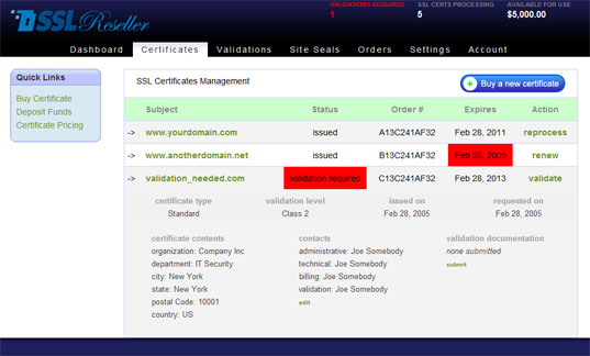 Ssl reseller certs screenshot